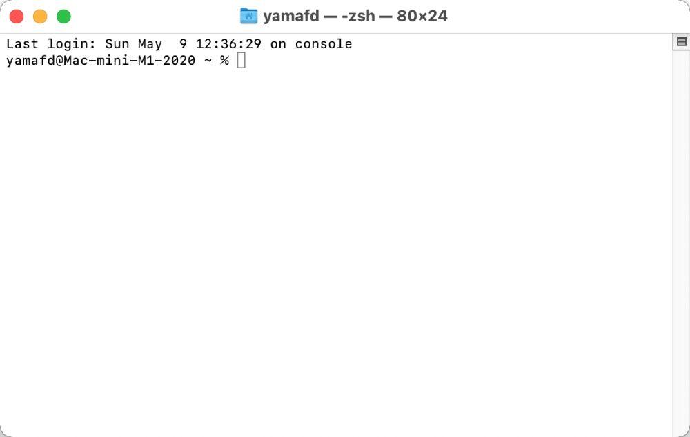 Macの「ターミナル」の基本画面