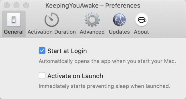 KeepingYouAwakeの設定画面