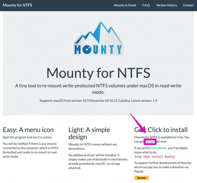 Mounty for NTFSの公式サイト