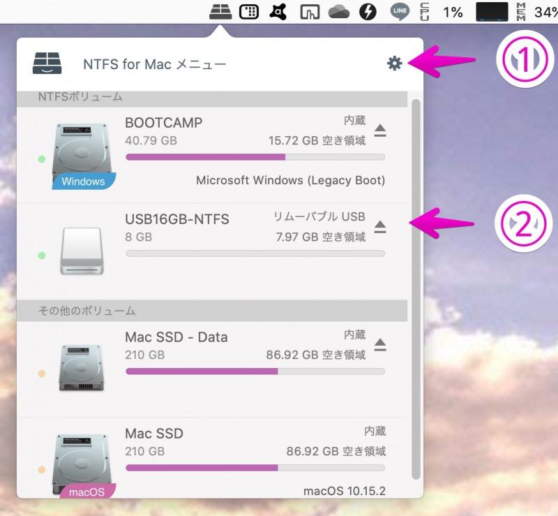 NTFS for Macのメニューバーを開いたところ