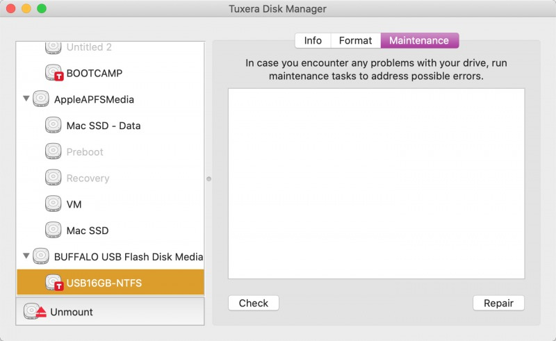 Tuxera Disk Managerの「Maintenance」画面