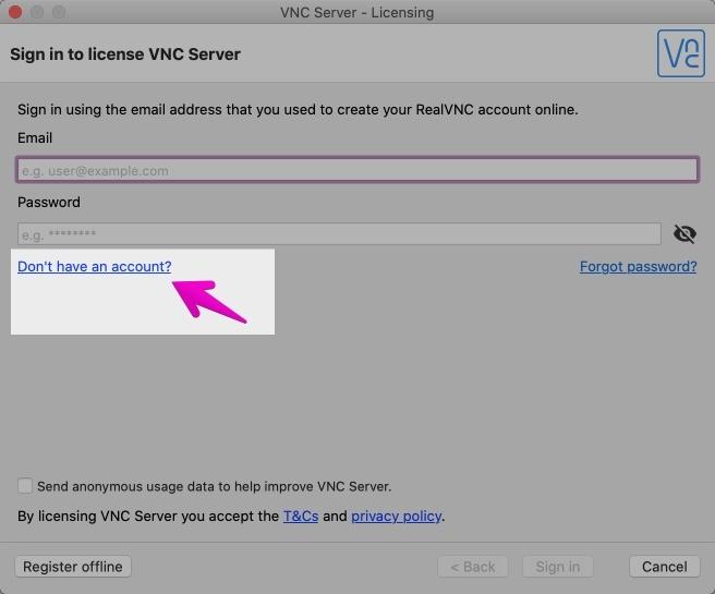 VNC Server - Licencing