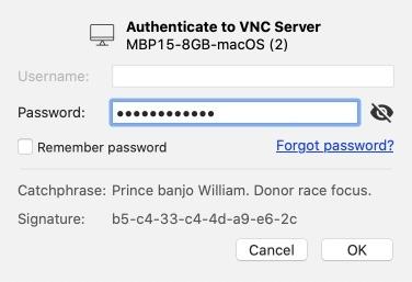 VNC Viewerでアクセス許可