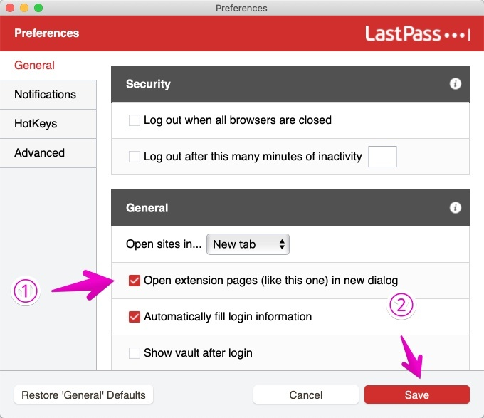 Macアプリ版LastPassのPreferences