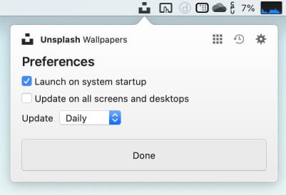 「Unsplash Wallpapers」のPreferences