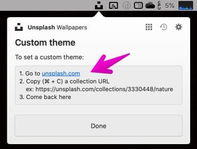 「Unsplash Wallpapers」のテーマ設定