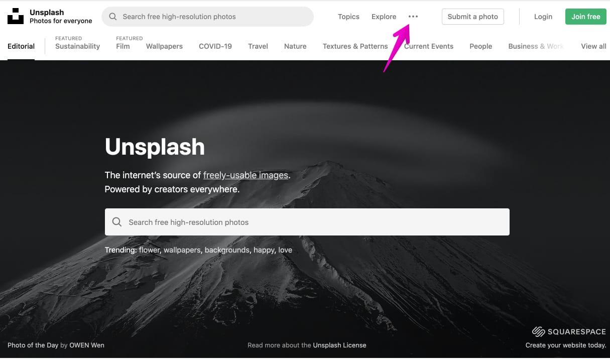 Unsplash公式サイト