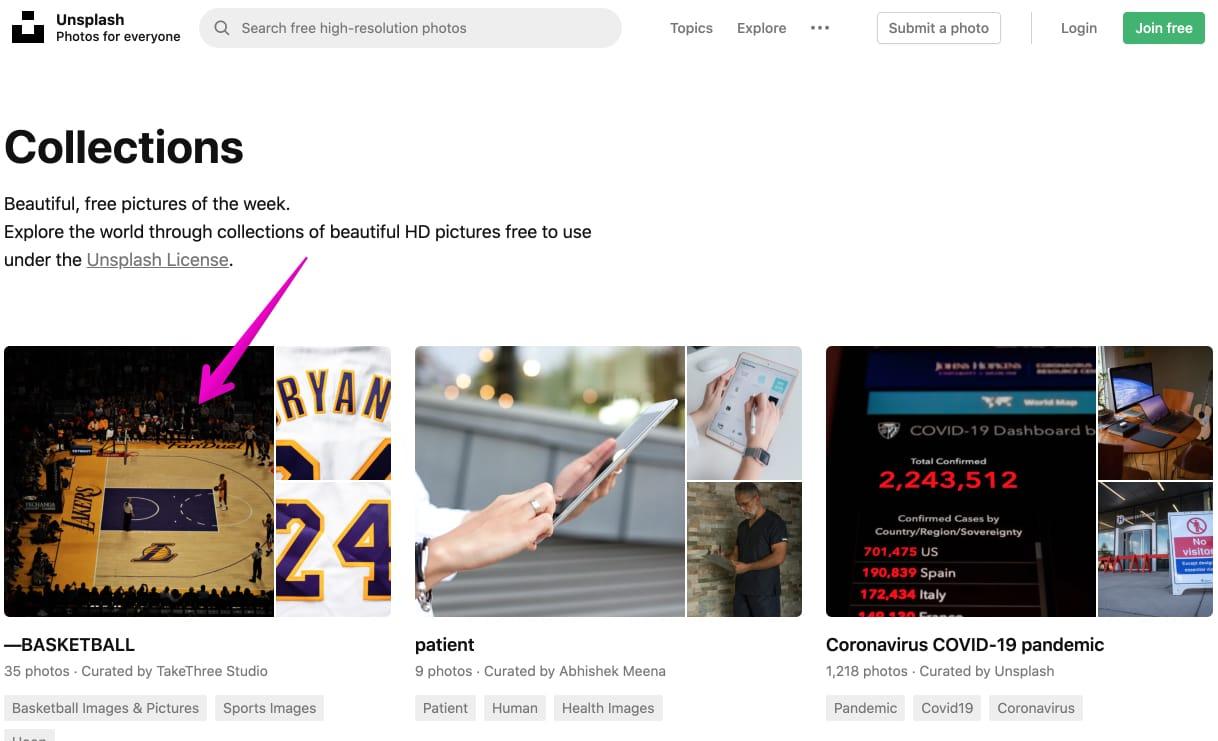 Unsplash公式サイトのCollections