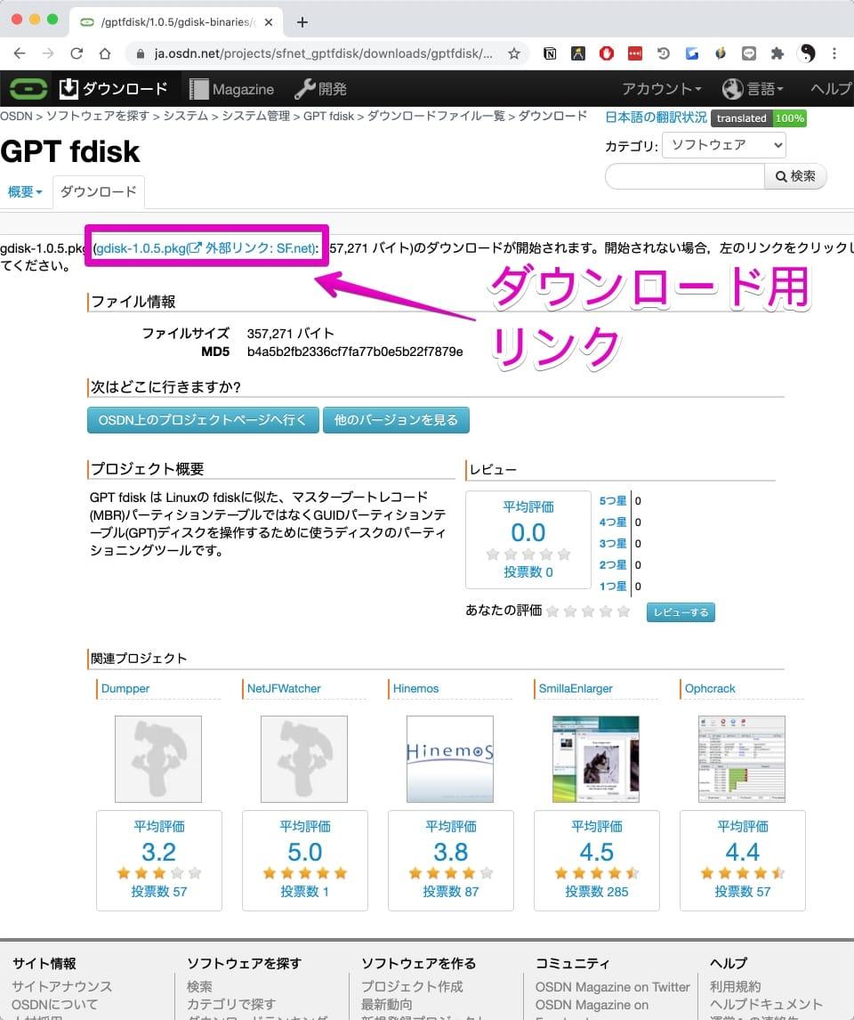 GPT fdiskの公式サイトのダウンロードページ