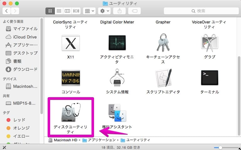 Macの「ユーティリティ」フォルダ