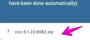 Google Chromeのファイルダウンロードの完了画面