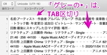CoetEditorで開いた「ミュージック(iTunes)」のcsvファイル