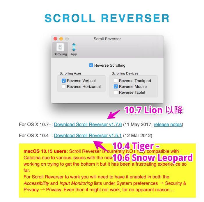 「Scroll Reverser」公式サイト