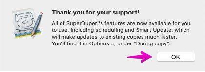 「SuperDuper!」のライセンスの登録完了の画面