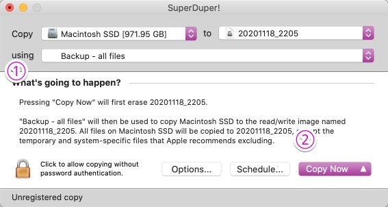 「SuperDuper!」でイメージ作成の設定