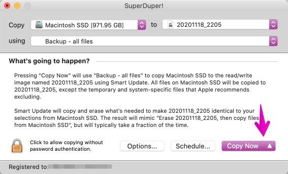 「SuperDuper!」でCopy Nowクリック