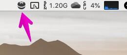 Macのメニュー領域に表示された「Tomighty」アイコン