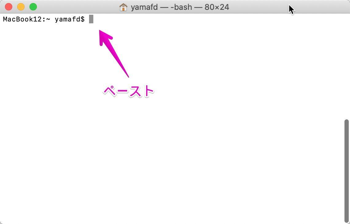 Macの「ターミナル」にコマンドをコピペ