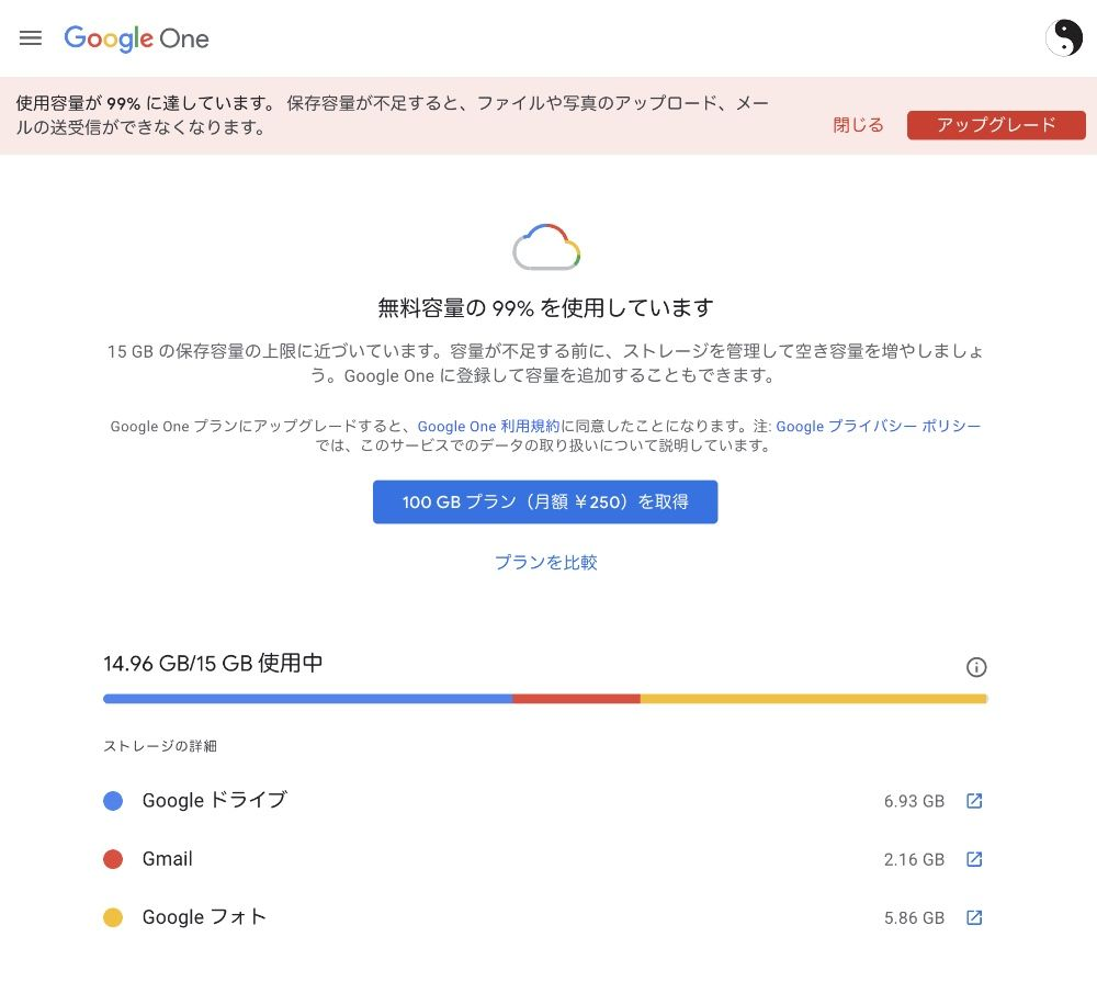 Googleドライブの使用状況