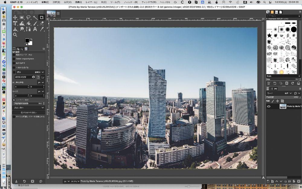 GIMPで画像を開いたところ