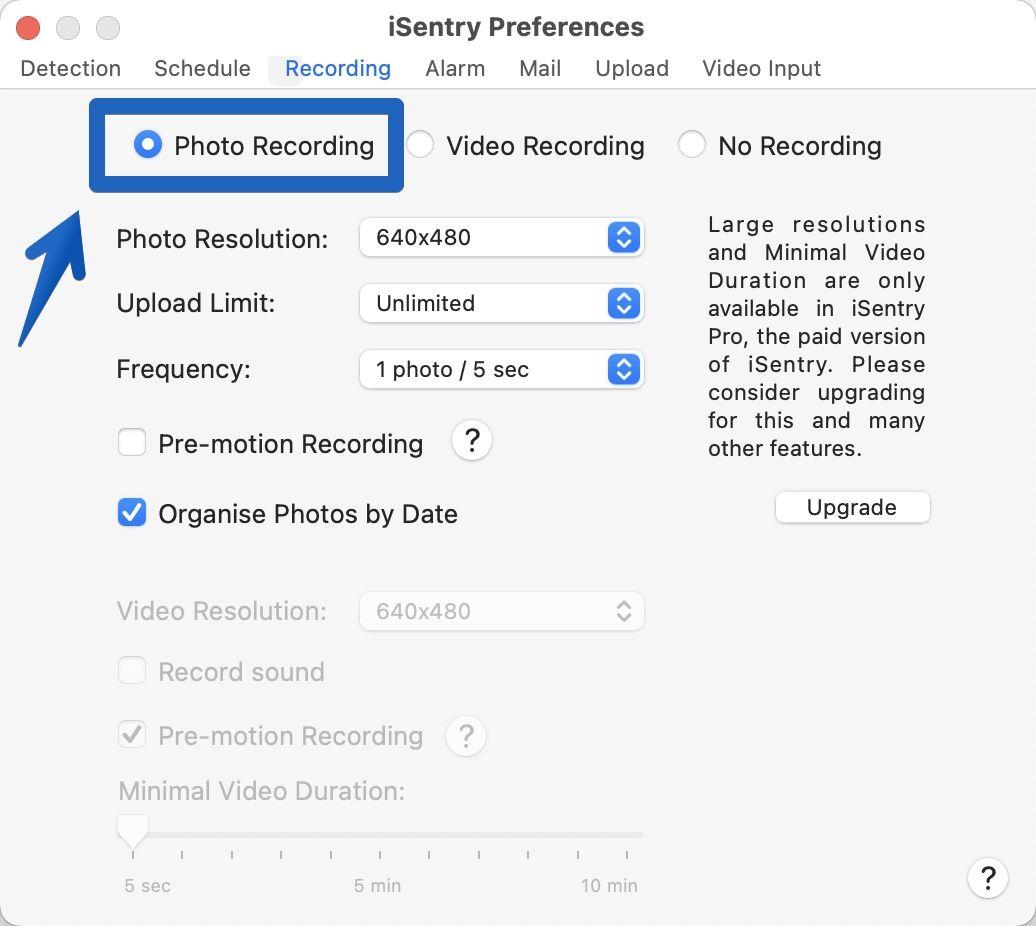 アプリ「iSentry」-「Preferences」-「Recording」