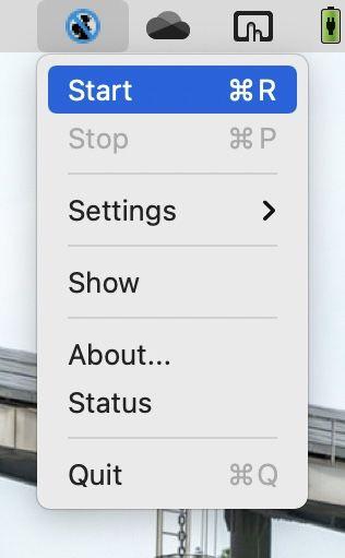 アプリ「iSentry」のメニューバーから「Start」