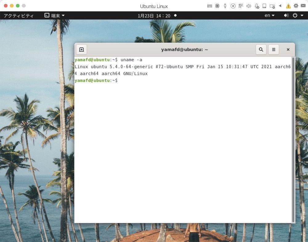 Parallels DesktopでUbuntu実行中