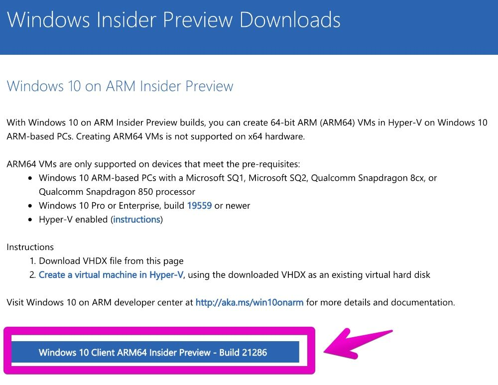 Windows Insider Preview Downloads