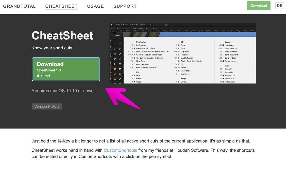 アプリ「CheatSheet」の公式サイト