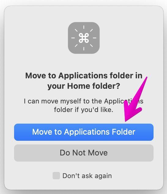Macでアプリ「CheatSheet」を、フォルダ「アプリケーション」に移動するかどうかの確認画面