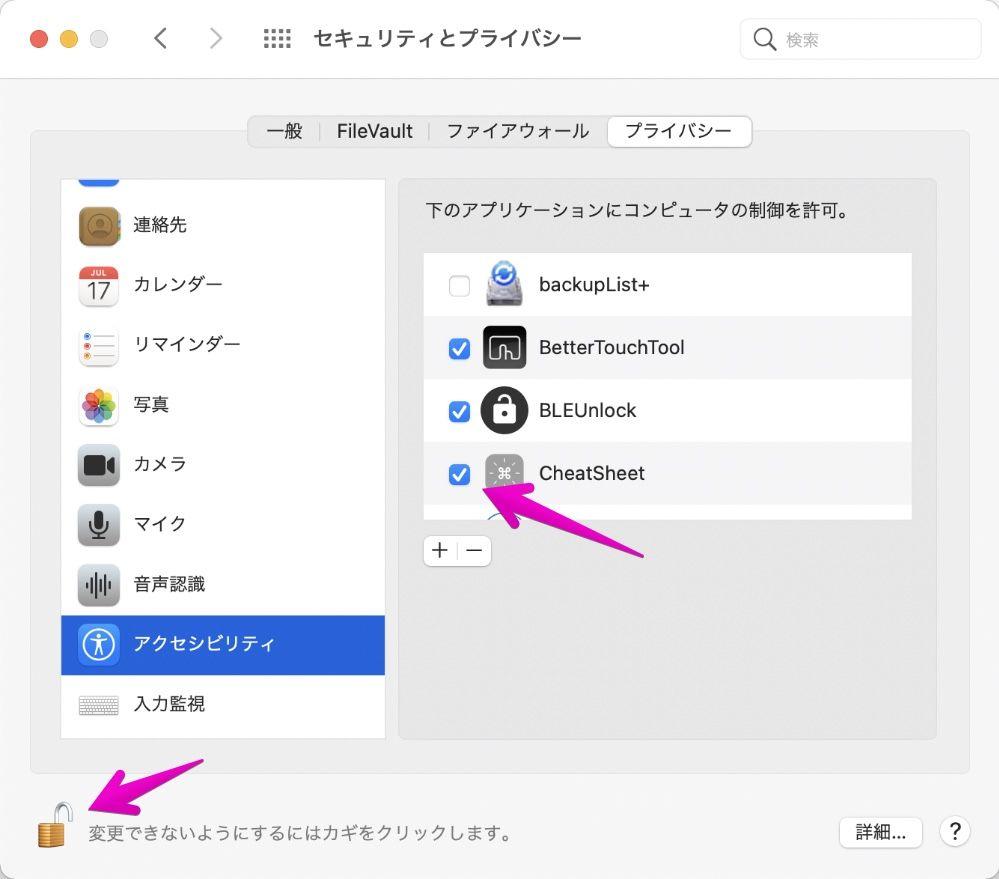 Macの「システム環境設定」-「セキュリティとプライバシー」-「アクセシビリティ」