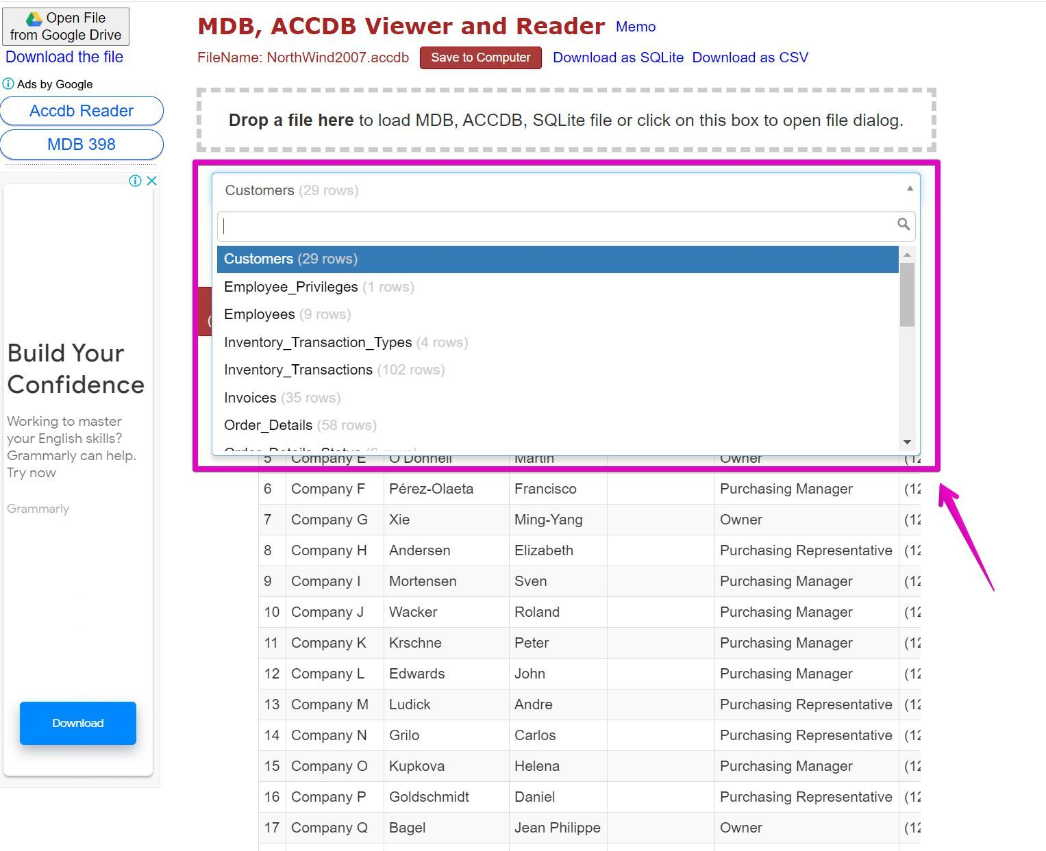 DB, ACCDB Viewer and Reader