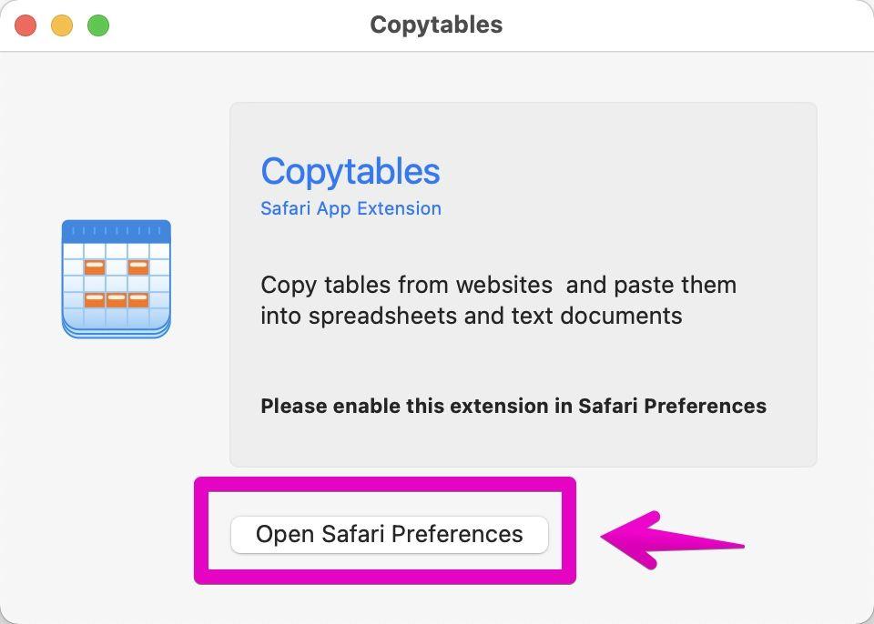 Macアプリ「Copytables」の基本画面