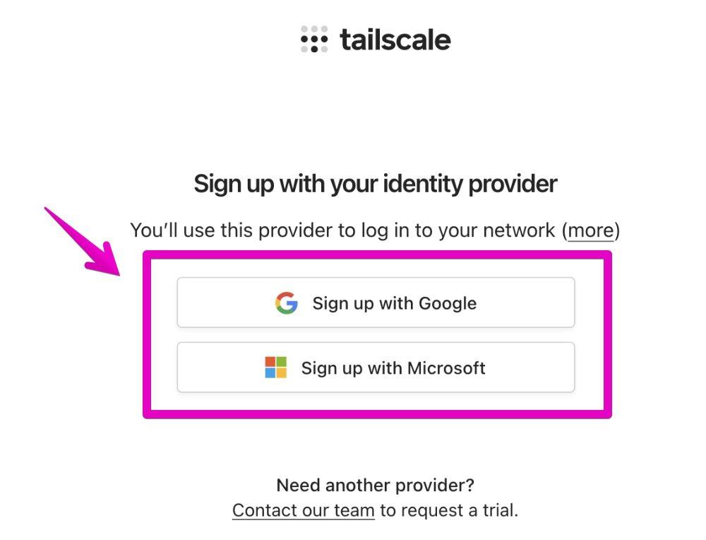 Tailscaleのアカウント登録ページ