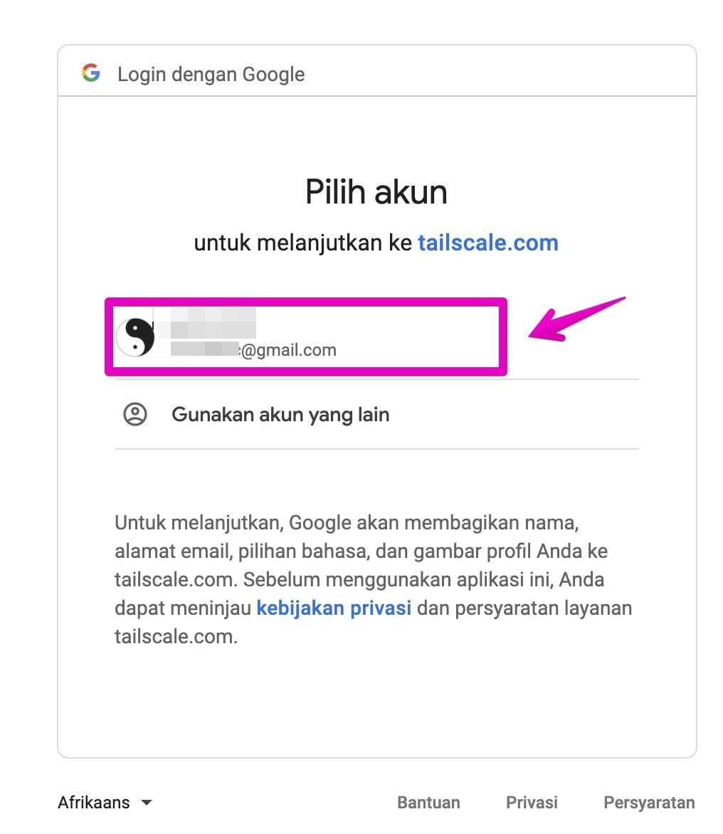 TailscaleのGoogle連携設定画面