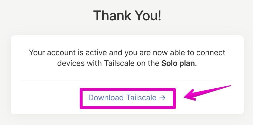 Tailscaleのアカウント連携完了画面