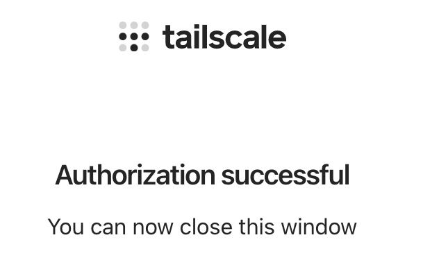 Tailscaleのログイン成功画面