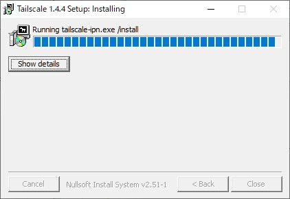 Tailscale for Windowsのインストール画面