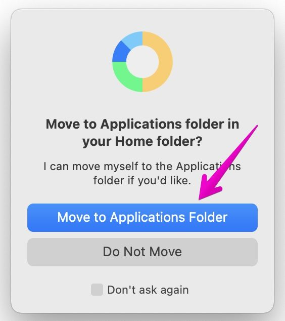 Macでアプリファイルを「アプリケーション」フォルダに移動してもよいかの確認のダイアログボックス