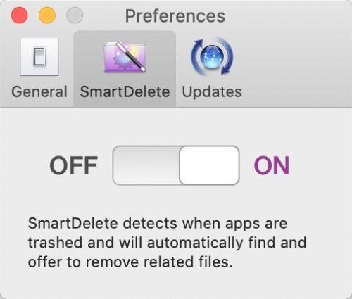 AppCleanerの環境設定の「スマートデリート」