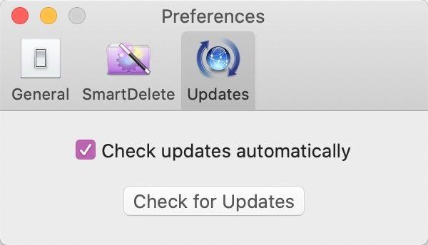 AppCleanerの環境設定の「アップデート」