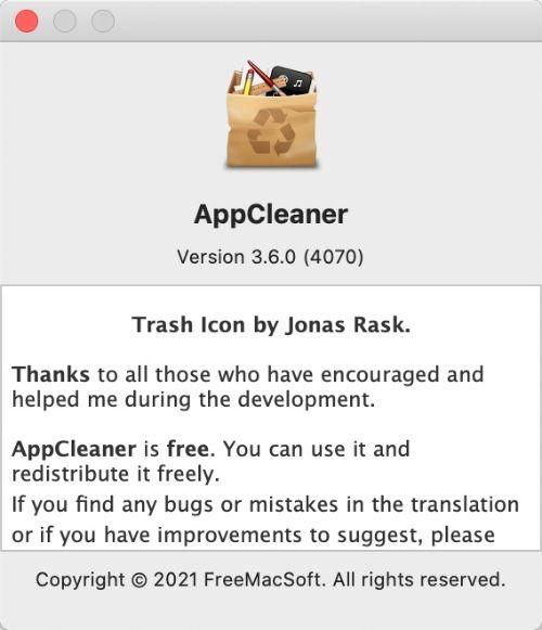 AppCleanerのアプリ情報を表示