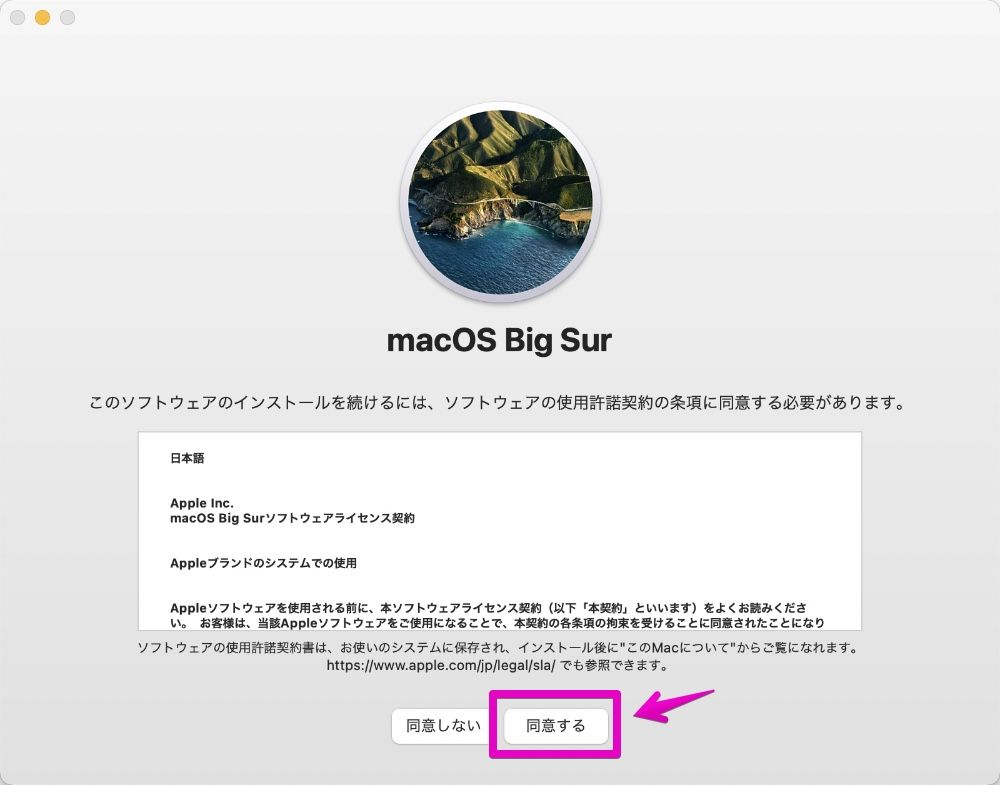 macOS big Surインストール画面のライセンス契約の画面