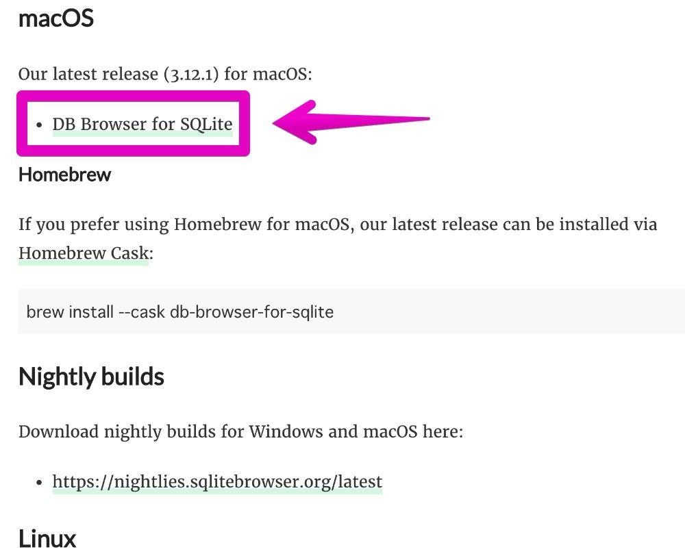 「DB Browser for SQLite」のダウンロードページ