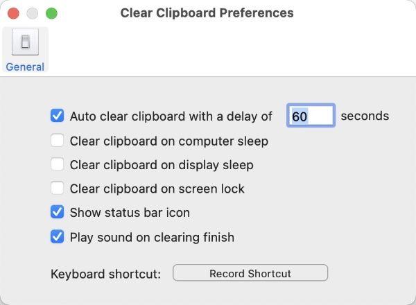 Macアプリ「Clear Clipboard」の設定画面