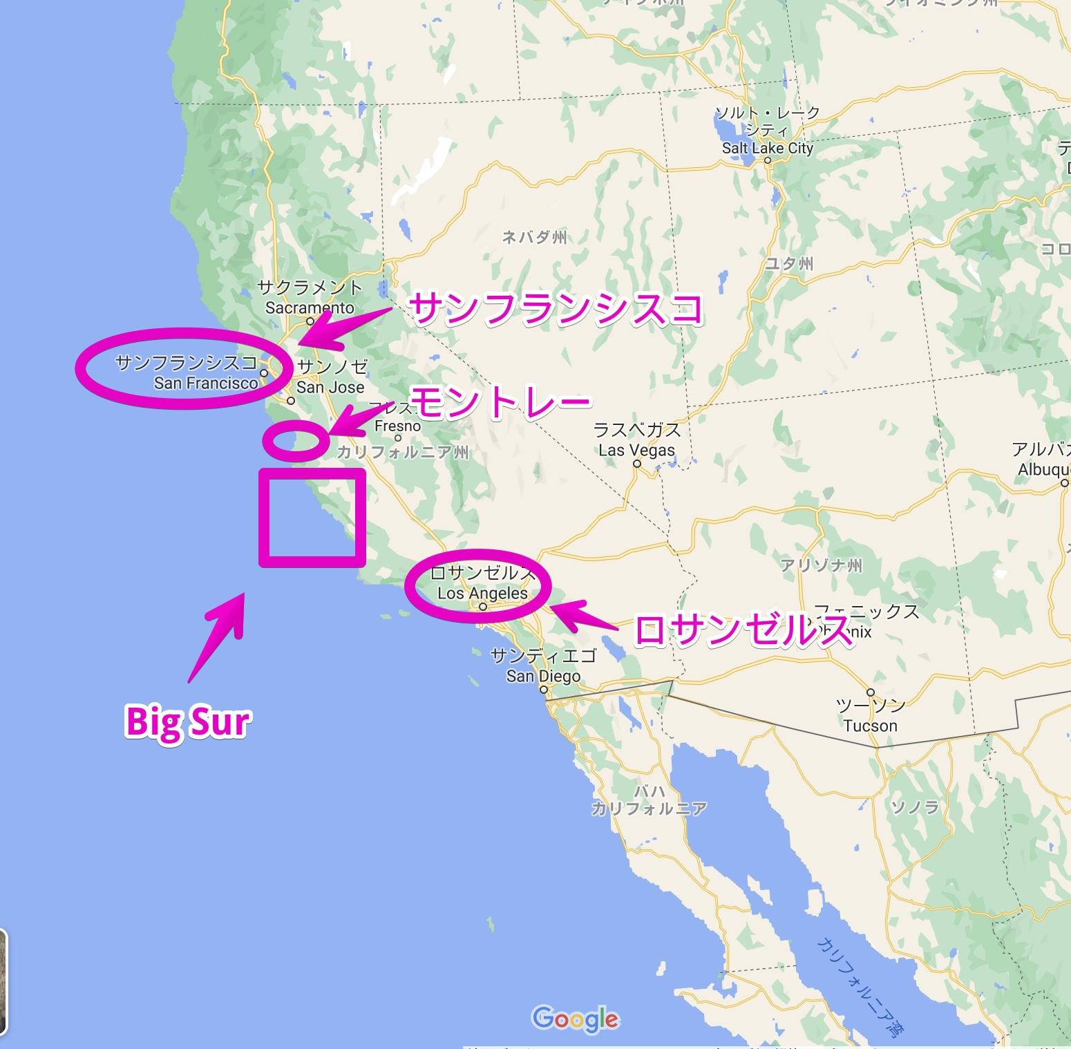 Big Surの位置を示す地図
