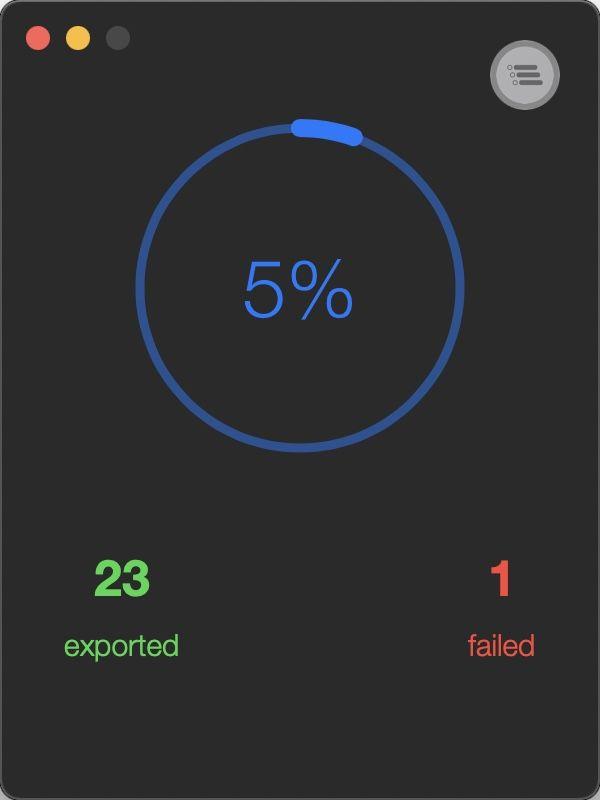 Macのアプリ「Exporter」で、エクスポートの実行中の画面
