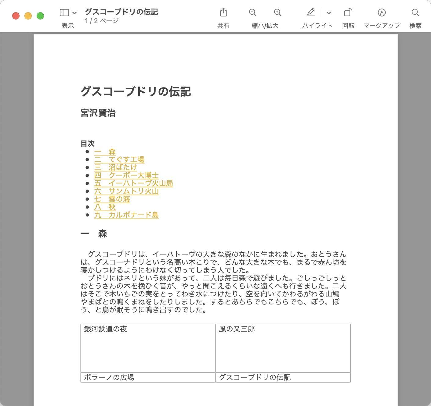 Macの「メモ」で、PDF保存