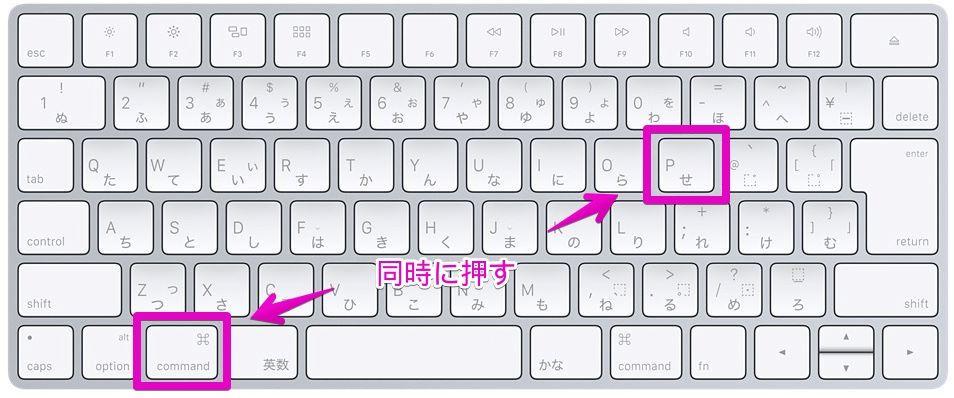 Macのキーボードショートカットで「command ⌘」+「P」