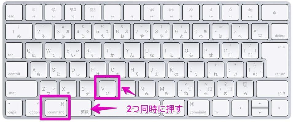 Macの「メモ」で、キーボードショートカットで、`command ⌘` + `V`を押す